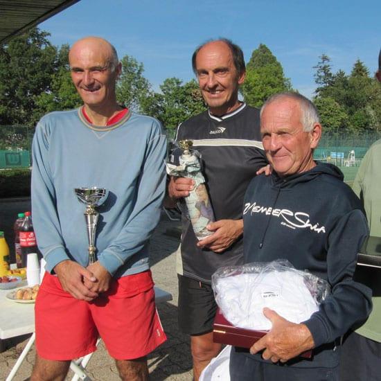 Gagnants hommes du tournoi de tennis vétérans d'Evian septembre 2020